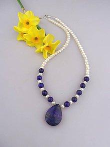 Náhrdelníky - pravé perly lapis lazuli náhrdelník - 8077043_