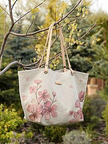 Veľké tašky - Elegantná ručne maľovaná ľanová kabelka \