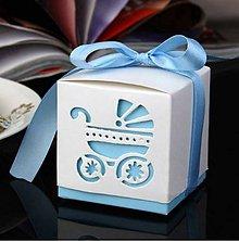 Obalový materiál - Darčekové krabičky s kočíkom modré - 8077763_