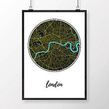 Obrazy - LONDÝN, okrúhly, čierny - 8074396_