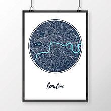 Obrazy - LONDÝN, okrúhly, tmavomodrý - 8074455_