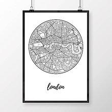 Obrazy - LONDÝN, okrúhly, biely - 8074528_