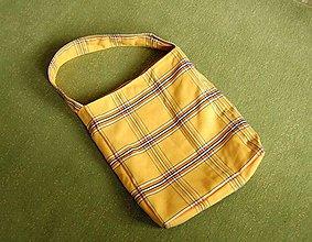 Kabelky - žlutá károvaná taška - 8075929_