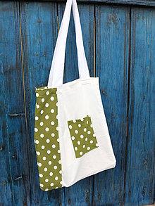 Nákupné tašky - bílo zelený puntík - 8076380_