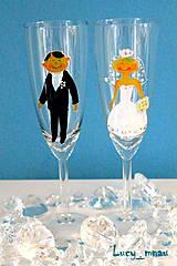 Darčeky pre svadobčanov - Svadobné poháre ♥ženích a nevesta ♥ - 8076064_