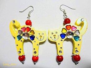 Náušnice - Náušničky mačičky žlté-zaľúbené :) - 8077165_