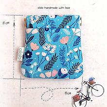 Peňaženky - Peňaženka mincovka Jemné modré kvietky - 8076263_