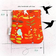 Peňaženky - Peňaženka mincovka Rastlinky a vtáčiky - 8076273_
