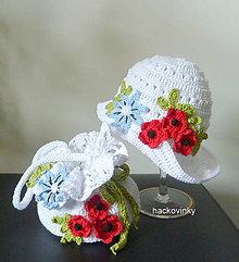 Detské čiapky - Biely klobucik- rozkvitnuta luka - 8077400_