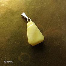 Náhrdelníky - Jantar mléčný fazetovaný na stříbrném závěsu - 8081312_