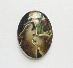 Komponenty - Kabošon - 30x40 mm - sklenený - vlk, vlci, zavýjanie, mesiac, spln - 8078951_