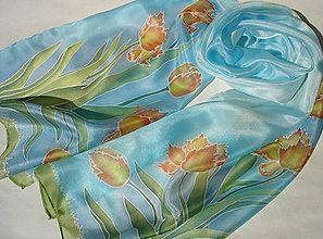 Šály - Strapatý tulipán..hodvábny šál - 8079180_
