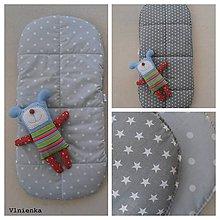 Textil - Podložka do hlbokej vaničky obojstranná na mieru Hviezdička a Bodka sivá - 8081062_