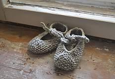 Topánočky - Detské papučky organic wool 0 - 6 m sivé - 8079658_