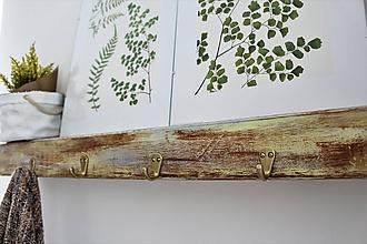 Nábytok - Masívna drevená polica/vešiak - 8081054_