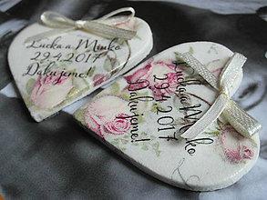 Darčeky pre svadobčanov - svadobné magnetky s ružami vintage - 8081204_