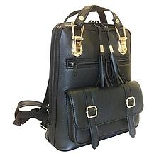 Batohy - Praktický módny ruksak z prírodnej kože v čiernej farbe - 8080603_