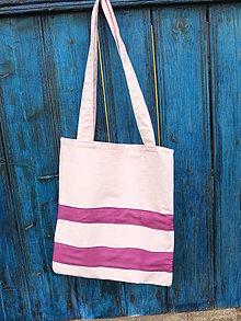 Nákupné tašky - růžová pruhovaná - 8079471_