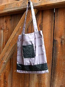 Nákupné tašky - šedá s koženkou - 8079591_