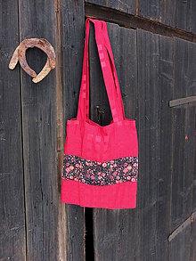 Nákupné tašky - Červená taška s květinami - 8079626_