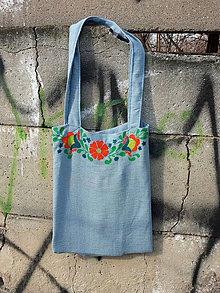 Nákupné tašky - modrá taška s folklorním lemem - 8079695_