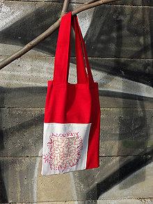 Nákupné tašky - červeno-bílá taška s lístečky - 8079712_