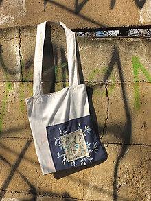 Nákupné tašky - bílo modrá taška s lístečky - 8079735_