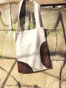 Nákupné tašky - písková taška s nášivkami - 8079766_