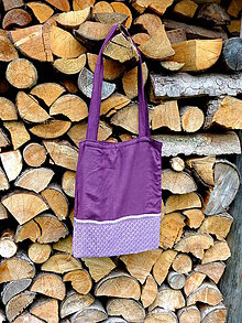 Nákupné tašky - fialová s krajkou - 8079782_