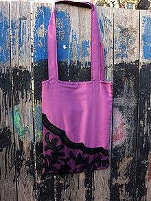 Nákupné tašky - růžová taška s krajkou - 8079853_