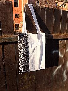 Nákupné tašky - bílá taška s krajkou - 8079874_
