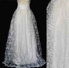 Šaty - Svadobná sukňa v maslovej farbe s hačkovaným pásom - 8079877_