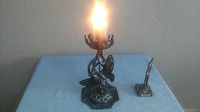 Svietidlá a sviečky - kovový svietnik motýľ (patina) - 8081970_