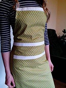Iné oblečenie - Kuchynská zástera zeleno - biela kombinácia - 8083133_