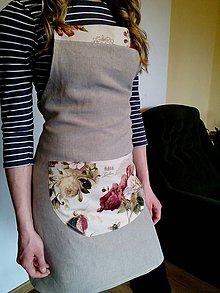 Iné oblečenie - Ľanová zástera Natural s motívom ruží - 8083412_