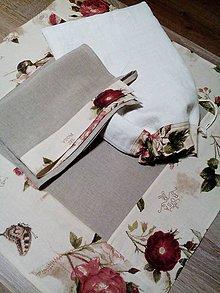 Úžitkový textil - Ľanovo bavlnený obrus Natural s motívom ruží - 8083606_