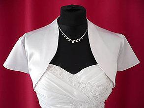 Iné oblečenie - Svadobné bolerko saténové - biele, lesklé - 8082380_