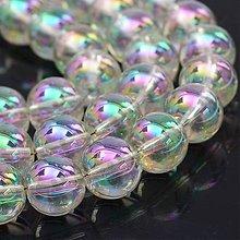 Korálky - SKO6640, Pokovované sklenené korálky/Farba Slonoviny 8mm-Dúhový efekt /10ks - 8082632_
