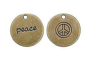 Komponenty - Prívesok PEACE mosadz - 8083904_