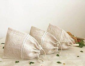 Úžitkový textil - Vrecúško na bylinky z ručne tkaného ľanu - 8083097_