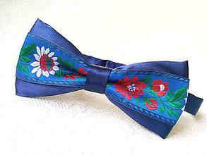 Doplnky - Slovak folklore bow tie (royal blue) - 8088759_