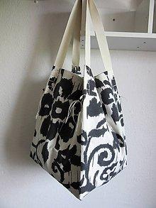 Veľké tašky - Veľká sivo-biela ľanová taška - 8085559_