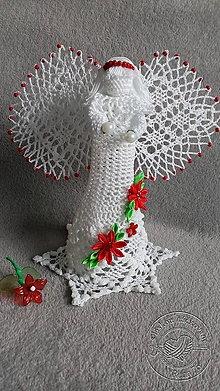 Dekorácie - Anjel s červenými kvetmi - 8085589_
