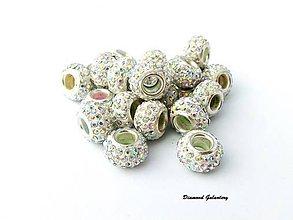 Korálky - Kovová korálka so štrasom - Crystal AB - 8086237_