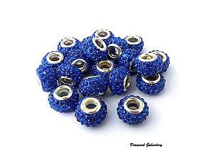 Korálky - Kovová korálka so štrasom - Kráľovská modrá - 8086259_