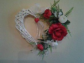 Kytice pre nevestu - svadobné srdce červeno-biele - 8087507_