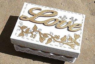 Krabičky - Škatuľka na prstienky Love zlatá - 8086508_