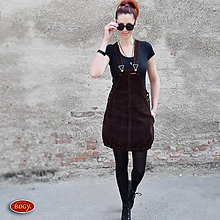 Šaty - elastická manšestrová šatovka balonová, čokoláda - 42 - 8085948_
