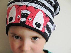 Detské čiapky - čiapka z biobavlny Medvede na prúžku (koralová) - 8085254_