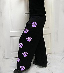 Nohavice - Tepláky s tlapkami, lila vel. 2XL a 3XL.. - 8088010_